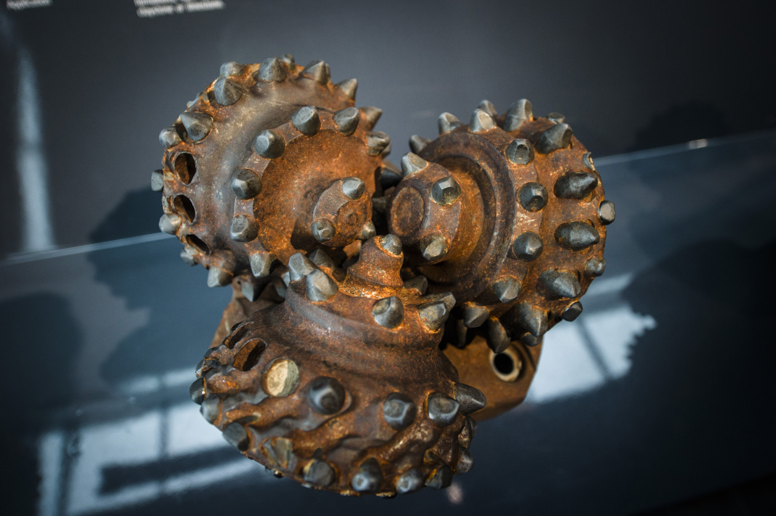 A rotary drilling bit used for oil exploration sits in an exhibition display at the Norwegian Oil Museum in Stavanger, Norway. Photographer: Kristian Helgesen/Bloomberg