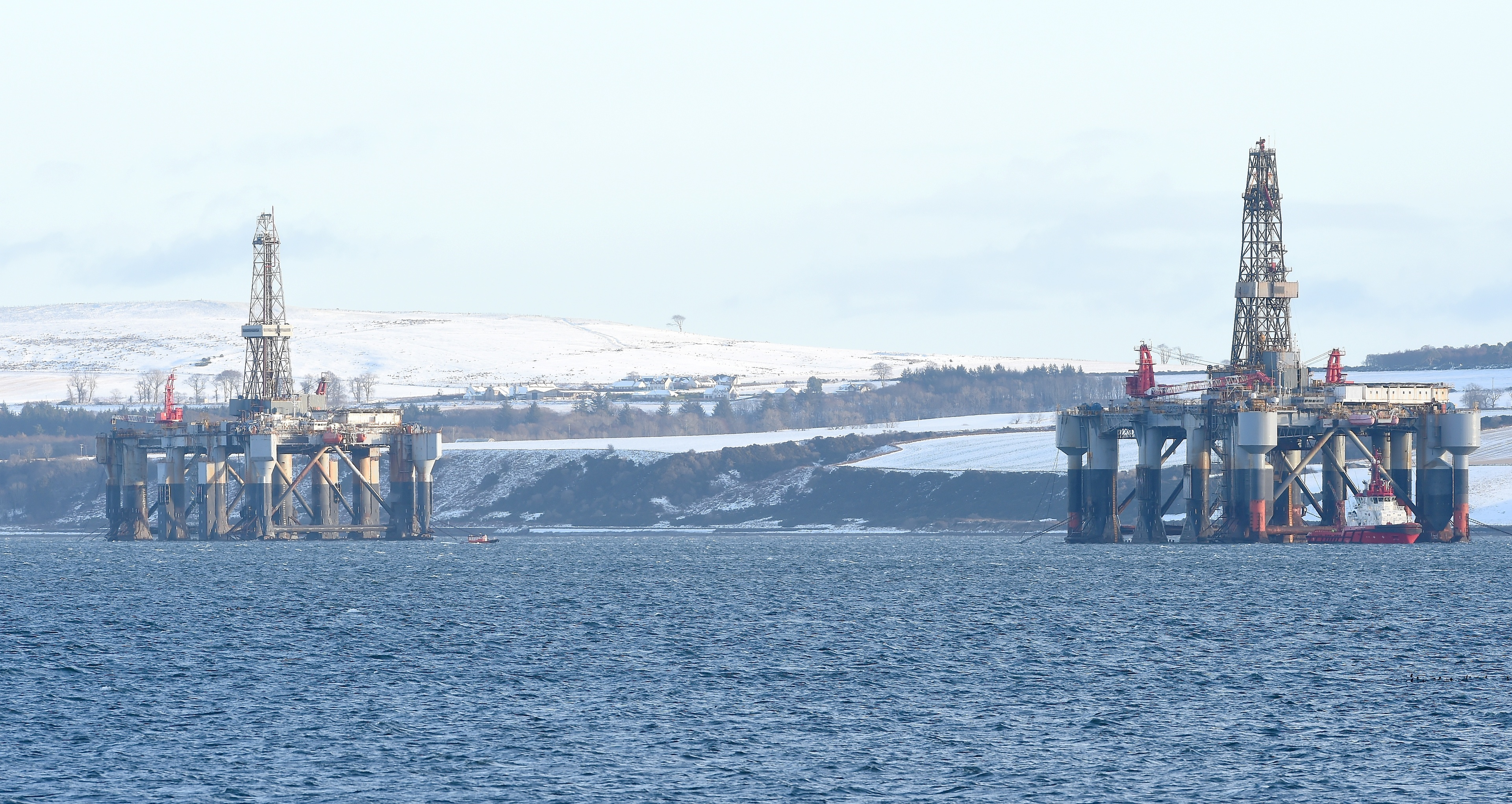 Oil rig twins, Ocean Princess (left) and Ocean Nomad in the Cromarty Firth awaiting shipment.