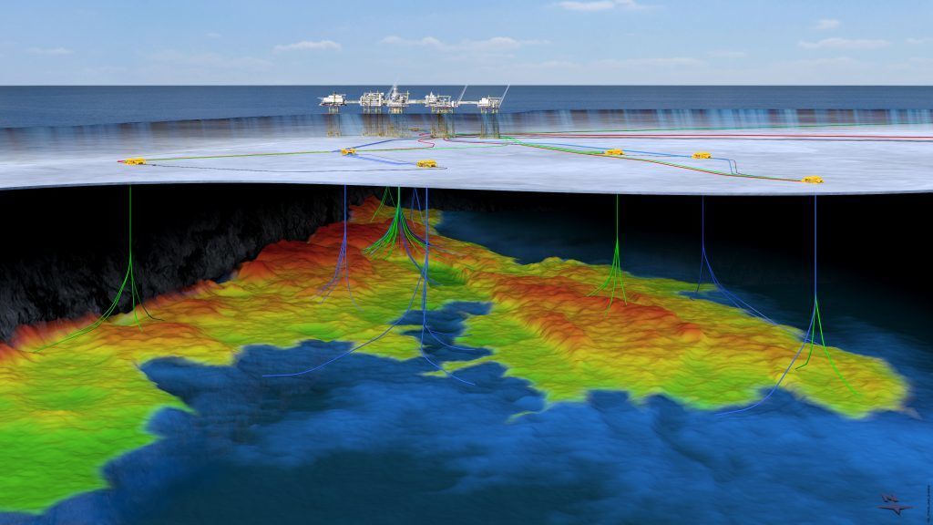 An illustration of the Johan Sverdrup field's subsea setup.