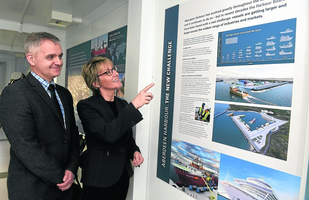 The opening of the visitors centre with the south harbour expansion at Bay of Nigg, Aberdeen. In the picture are  Keith Young, Engineering director, left and Chris Bain, external relations director.