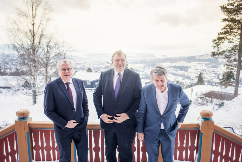 Eldar Saetre, chief executive officer of Statoil ASA, left, Patrick Pouyanne, chief executive officer of Total SA, center, and Ben van Beurden, chief executive officer of Royal Dutch Shell Plc, pose for a photograph following an interview on the sidelines of an energy conference in Oslo, Norway, on Thursday, Feb. 15, 2018. The bosses of three of the world's biggest oil companies gathered on the sidelines of an energy conference to make the case for a flagship Norwegian project, in which the companies plan to store CO2 emissions under the North Sea after they've been shipped and piped from onshore industrial plants. Photographer: Kyrre Lien/Bloomberg