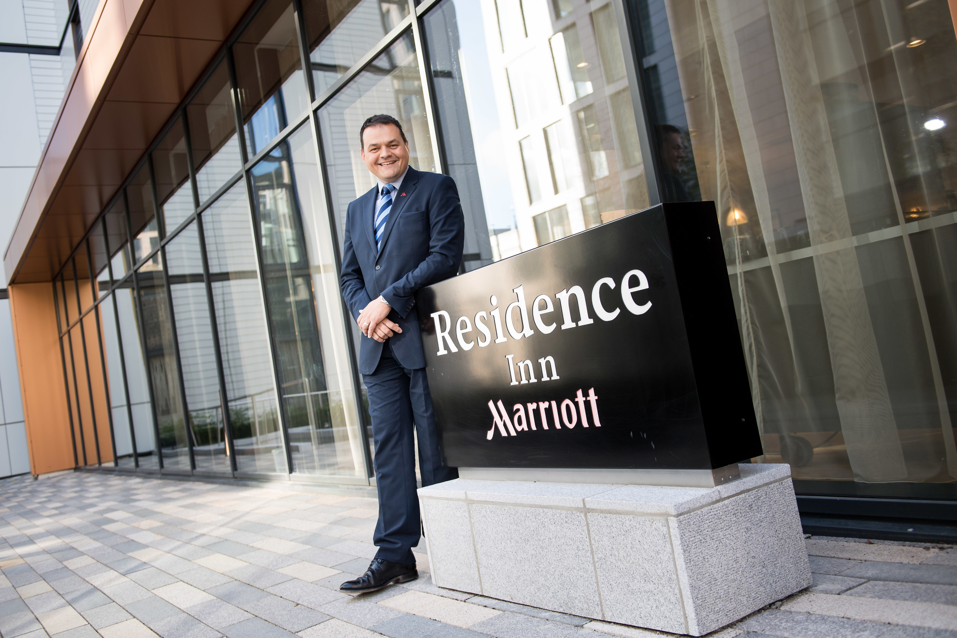 The  new Residence Inn by Marriott has opened to guests, located in Aberdeens new Marischal Square development. Pictured is Chris Wayne- Willis, General Manager, Scotland & North Cluster, Marriott.