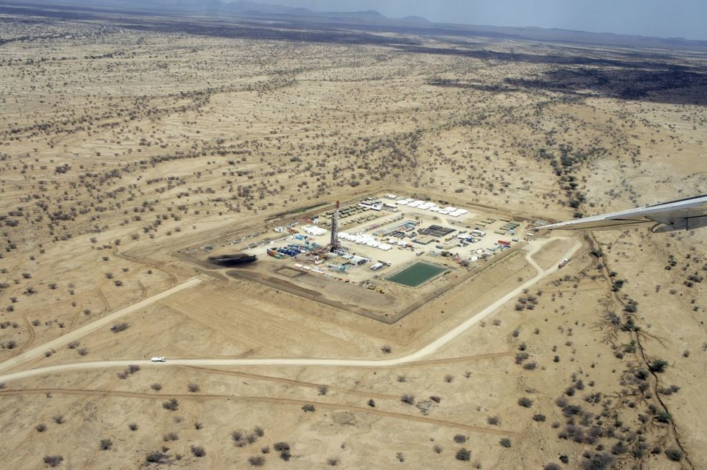 The Twiga oil well is seen in this undated aerial photograph taken over Twiga, Kenya. Photographer: Eduard Gismatullin/Bloomberg