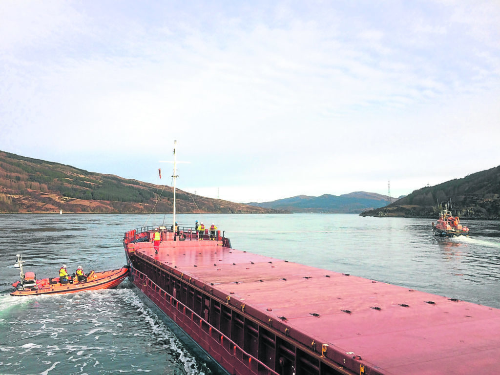 Cargo ship CEG Universe in the  Kylerhea Narrows