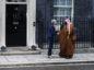 Theresa May, U.K. prime minister, left, greets Mohammed bin Salman, Saudi Arabia's crown prince, outside number 10 Downing Street in London, U.K., on Wednesday, March 7, 2018. Photographer: Luke MacGregor/Bloomberg