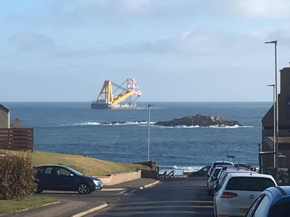The Asian Hercules arrives in Peterhead for foundation delivery. Picture by Gordon Morrison.