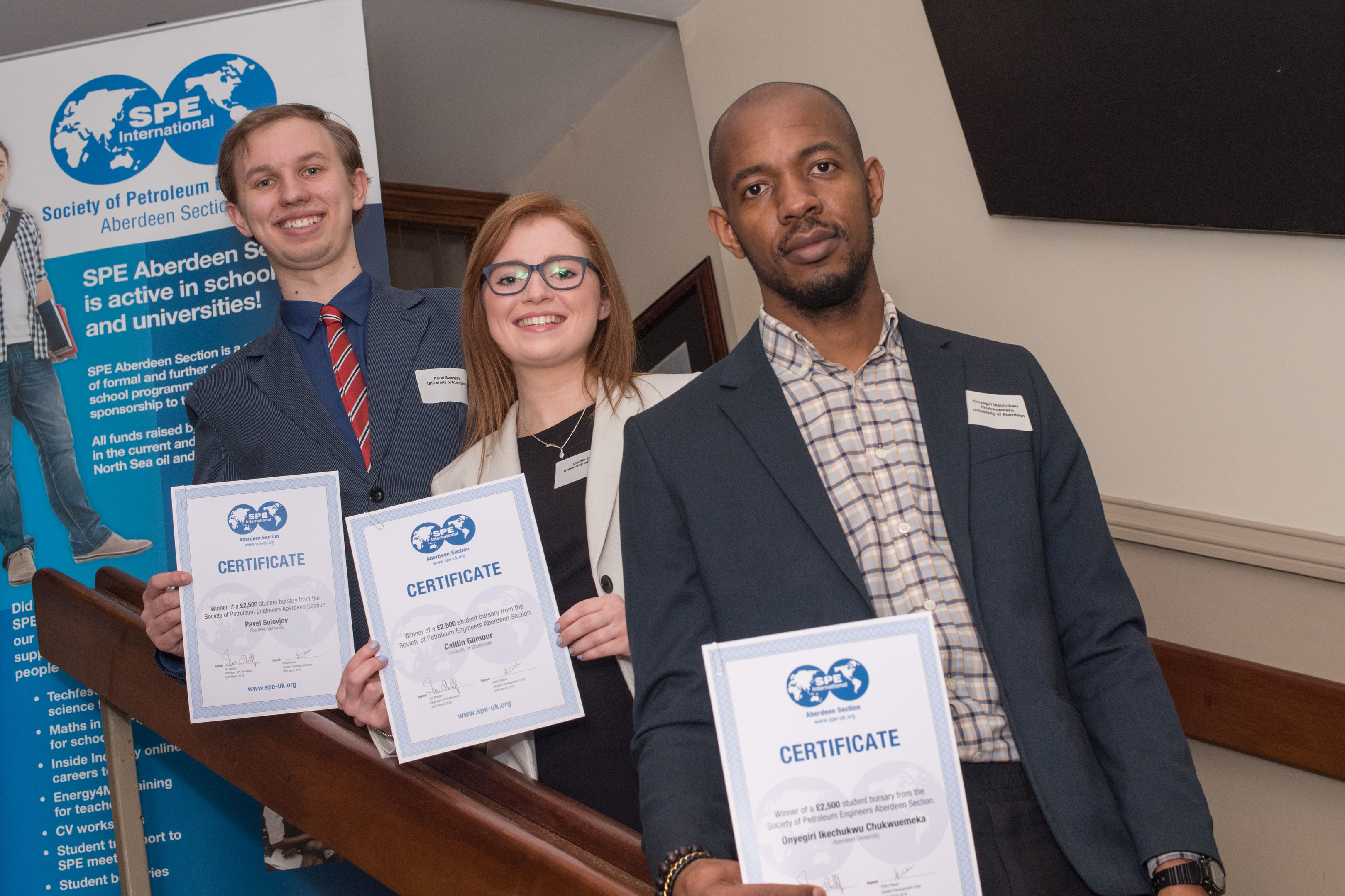 Aberdeen,  Scotland, Wednesday 28th March 2018  SPE Aberdeen Bursaries Presentation at Douglas Hotel, Aberdeen.  Pictured is: Pavel Solovjov, Caitlin Gilmore, Onyegiri Ikechukwu, recipients of the top bursaries  Picture by Michal Wachucik / Abermedia