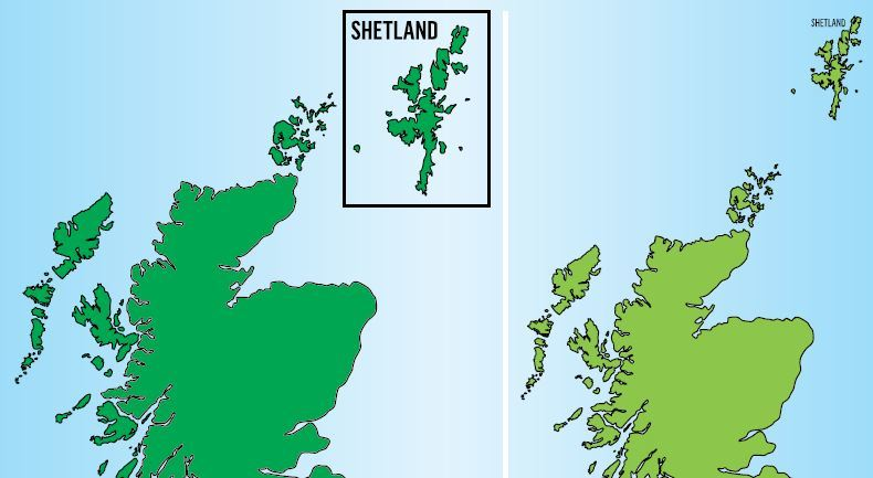 The conventional map to date with Shetland boxed off, an official practice that has long agitated many islanders