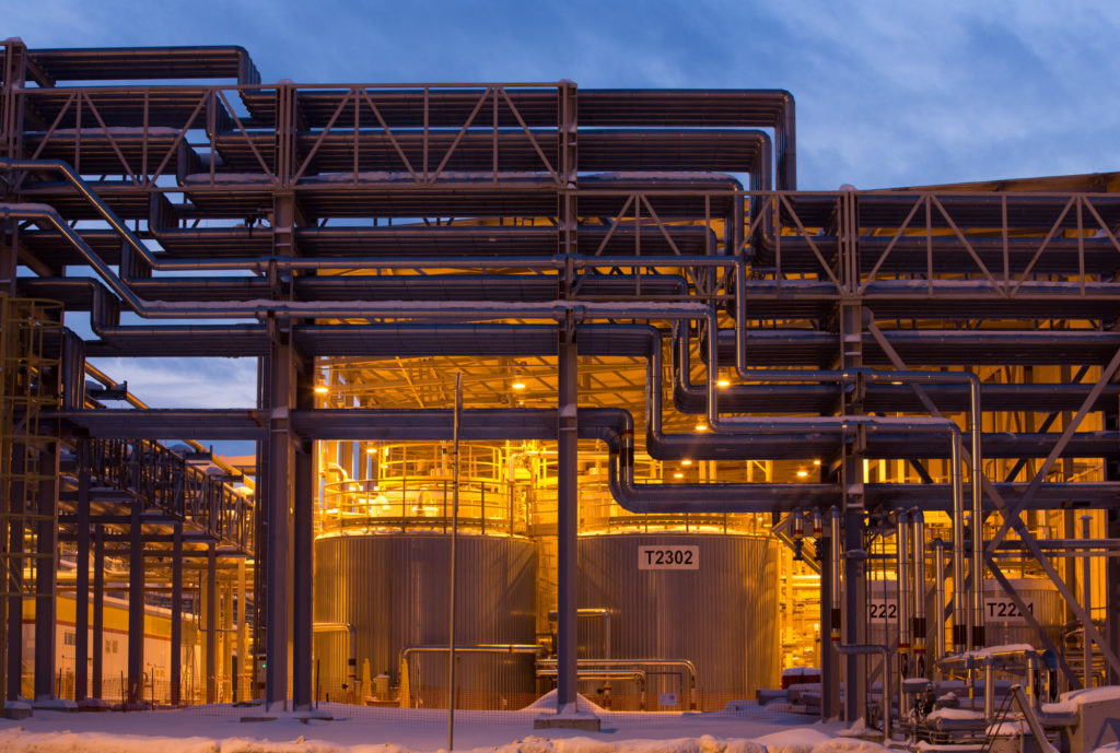 Pipework and storage tanks stand outside at the Royal Dutch Shell Plc lubricants blending plant in Torzhok, Russia, on Wednesday, Feb. 7, 2018. The oil-price rally worked both ways for Royal Dutch Shell Plc as improved exploration and production lifted profit to a three-year high while refining and trading fell short of expectations as margins shrank. Photographer: Andrey Rudakov/Bloomberg
