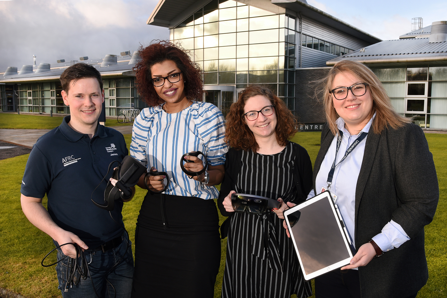 (Left to right) Strathclyde University PhD students James Reid, Fatin Abdalla, Ellie Smith and Maria Damaskou