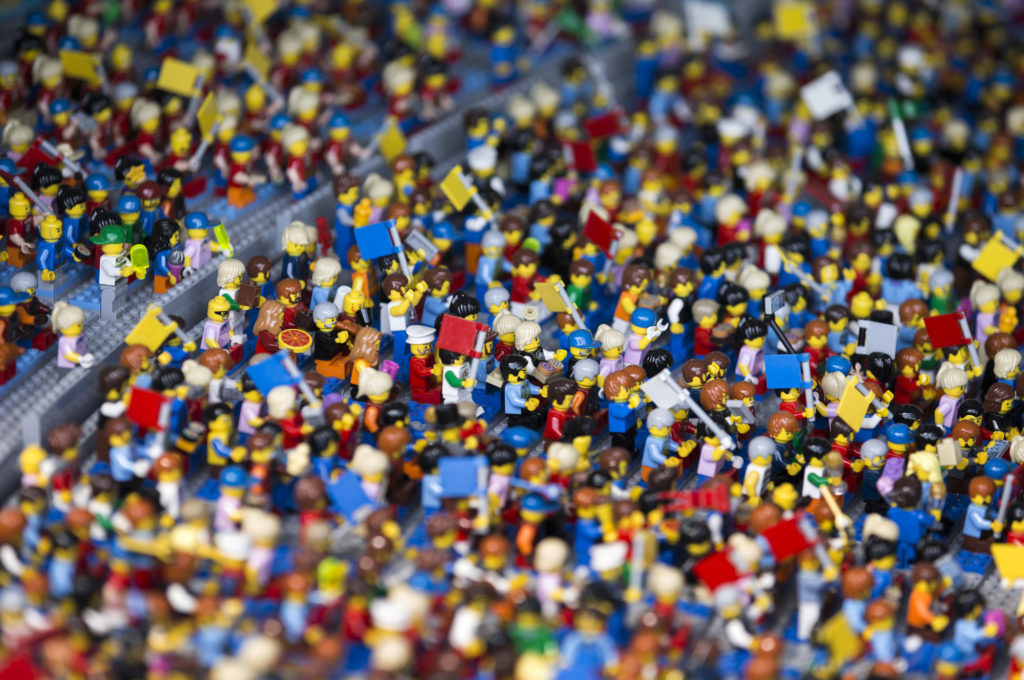 A Lego display of spectators in a replica of the Nagoya Dome is seen in the Miniland section inside the Legoland Japan theme park in Nagoya, Japan, on Friday, March 17, 2017. The 8th Legoland theme park in the world will open on April 1. Photographer: Tomohiro Ohsumi/Bloomberg