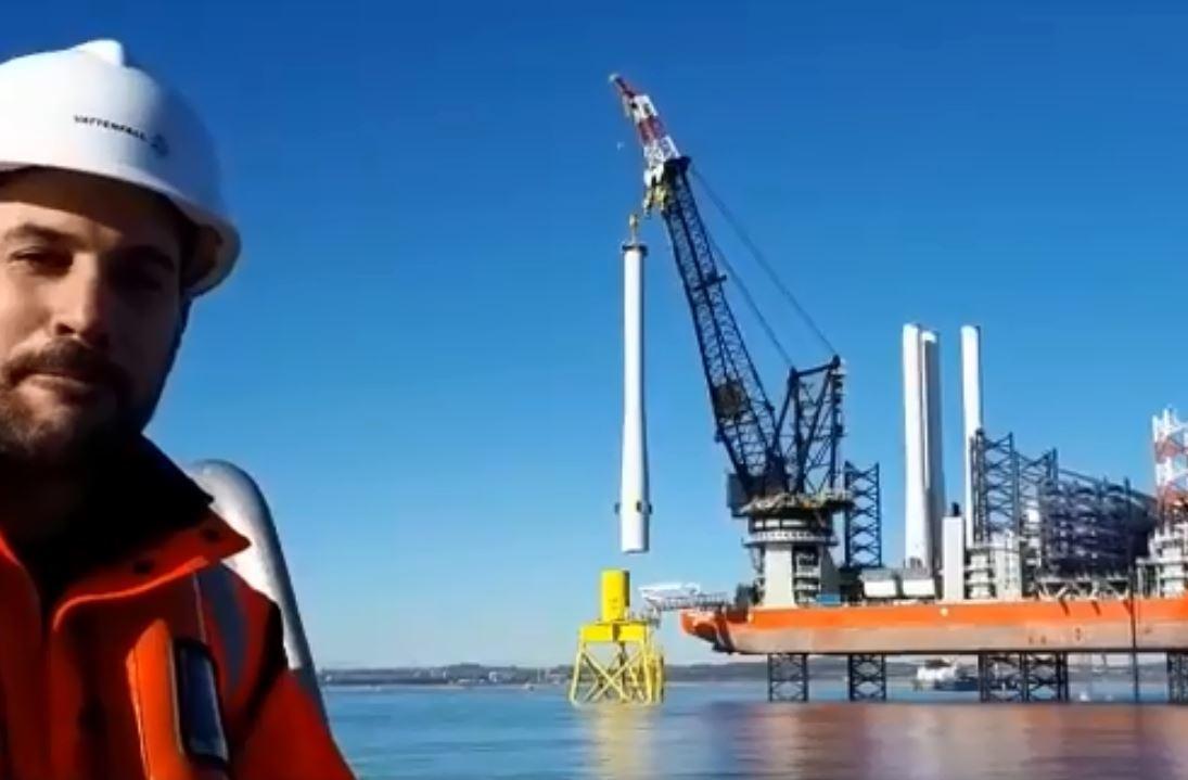 Adam Ezzamel at Aberdeen Offshore Wind Farm.
