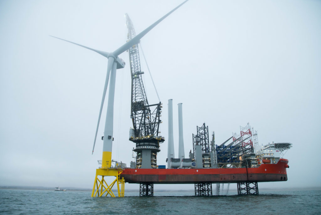 An offshore wind farm being constructed.
