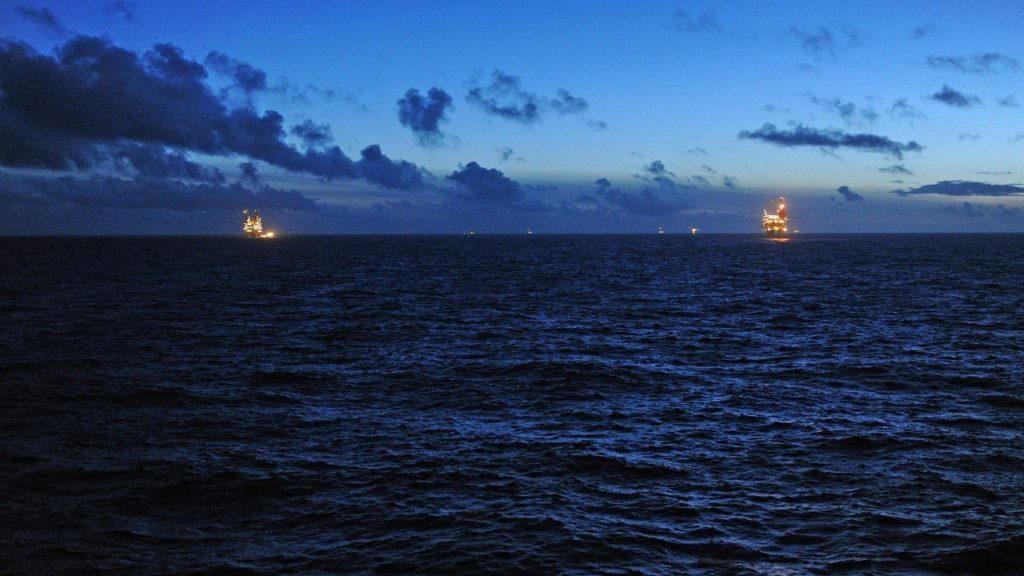 View from the Gullfaks C platform in the North Sea. PIC: Harald Pettersen