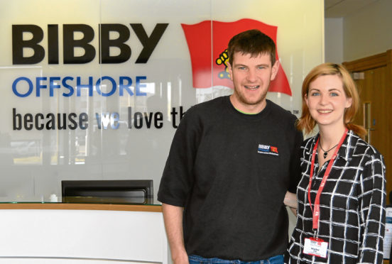 Keith Gordon of Bibby Offshore and Gemma Powell of the Scottish Huntington's Association.