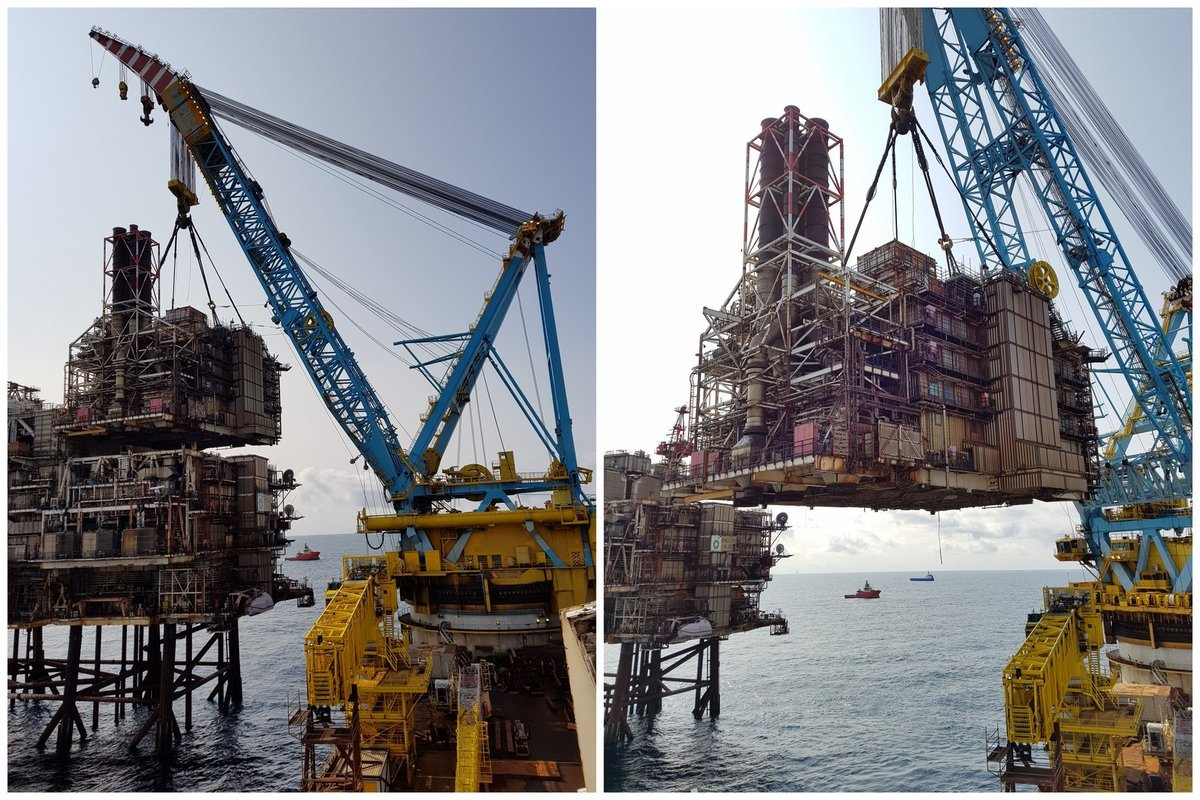 Pictures of the Miller platform being dismantled.
