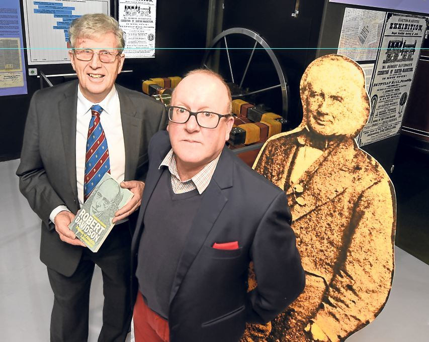 Stuart Scorgie, centre, the great-great-grandson of inventor Robert Davidson, with Dr Anthony Anderson, who has written a book about Robert Davidson