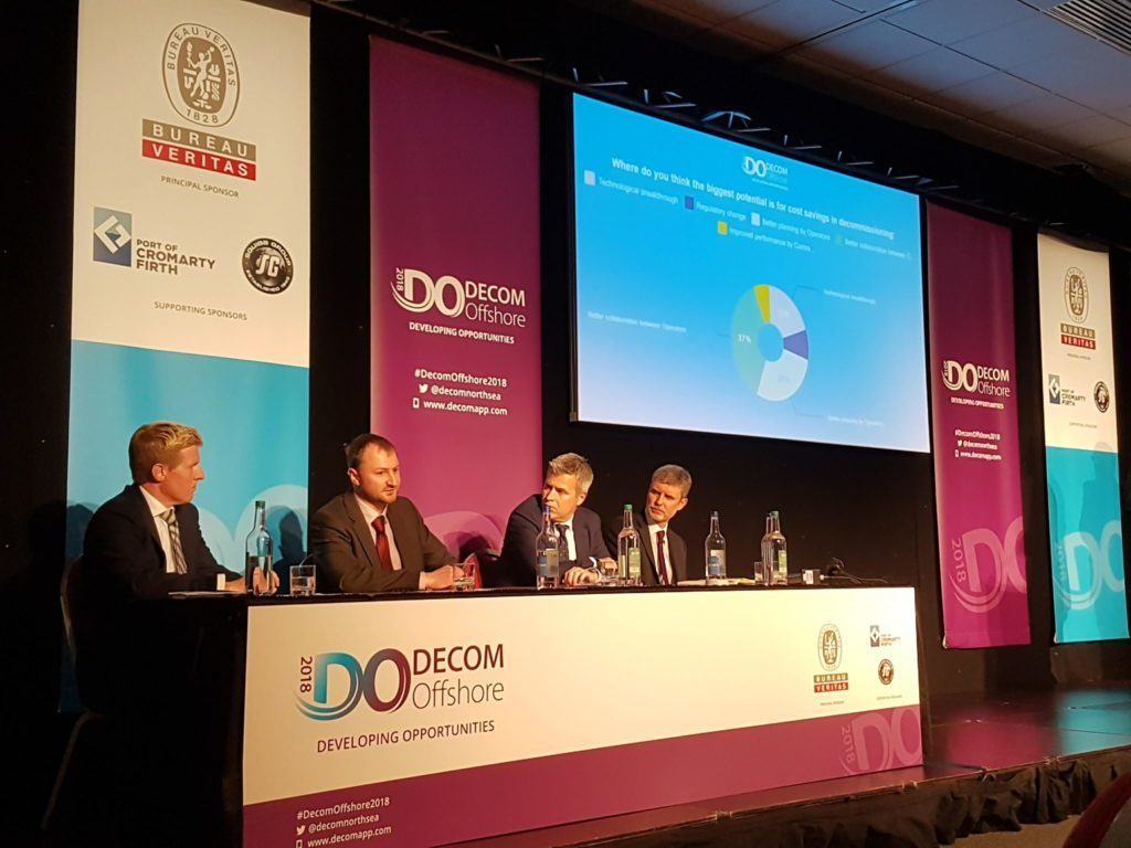 L to R: Graeme Fergusson of Decom Energy, Innes Jordan from Nexen, Nick Dalgarno of Simmons and Co., and Barry MacLeod from Bibby Offshore