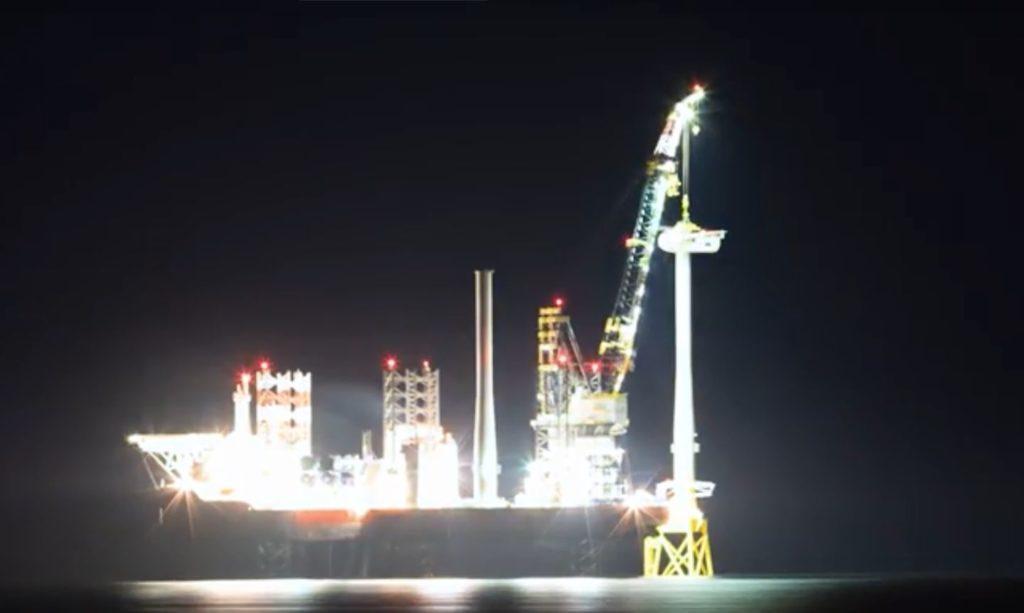 Aberdeen Offshore Wind Farm work at night.