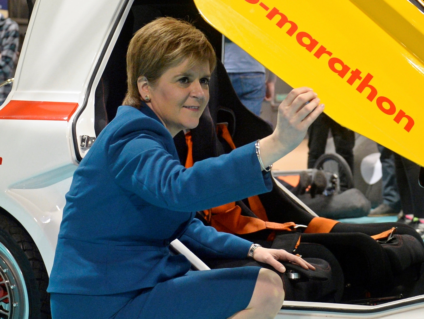 Scotland's First Minister Nicola Sturgeon with Miss K an urban concept car at the All Energy Exhibition Conference at the Scottish Event Campus in Glasgow.  May 2 2018.