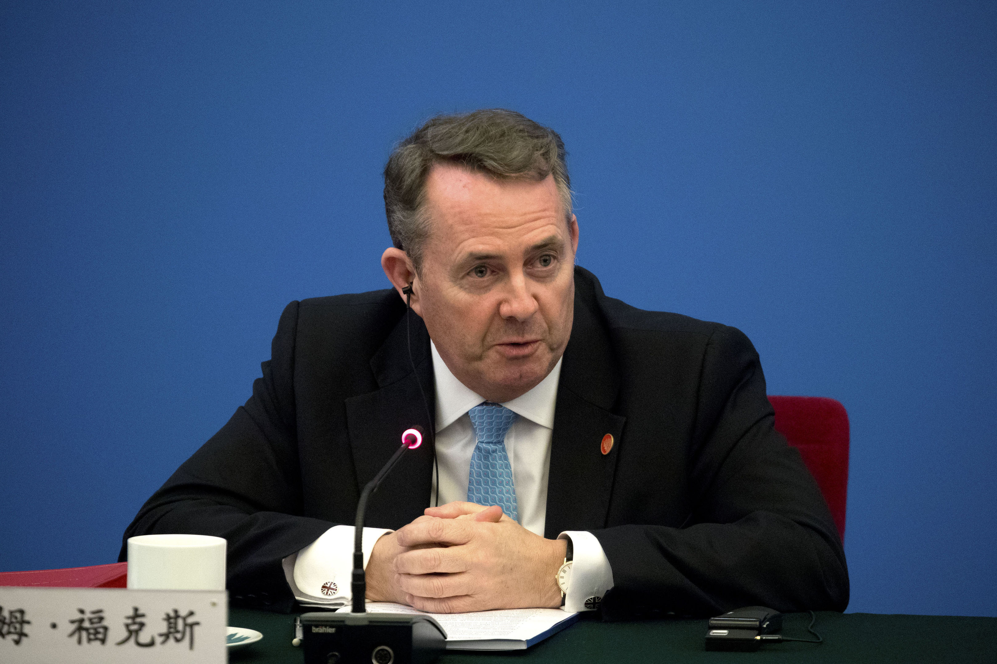British Secretary of State for International Trade Liam Fox speaks during the inaugural meeting of the UK-China CEO Council at the Great Hall of the People in Beijing, Wednesday, Jan. 31, 2018. (AP Photo/Mark Schiefelbein, Pool)