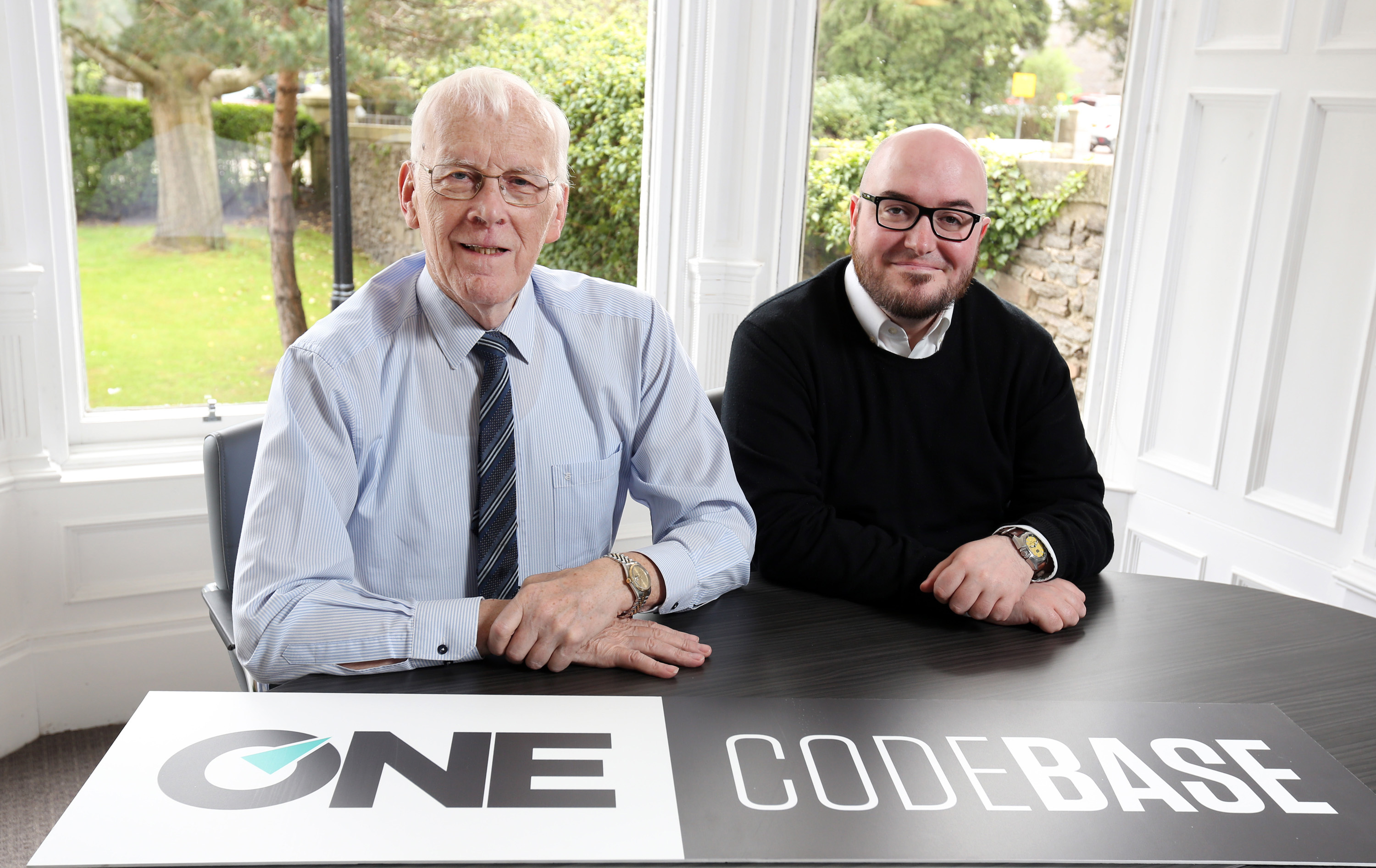 The launch of partnership between ONE and CodeBase. Picture shows Sir Ian Wood from ONE and Stephen Coleman from CodeBase. Pic Karen Murray