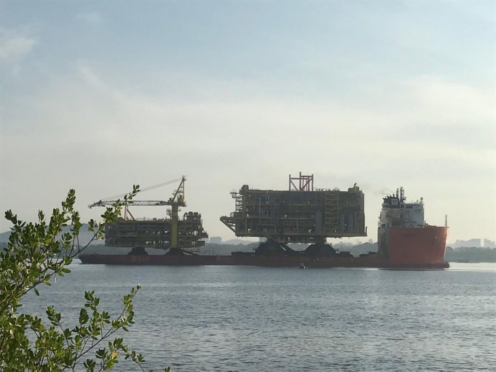 Topsides for the FSO being transported