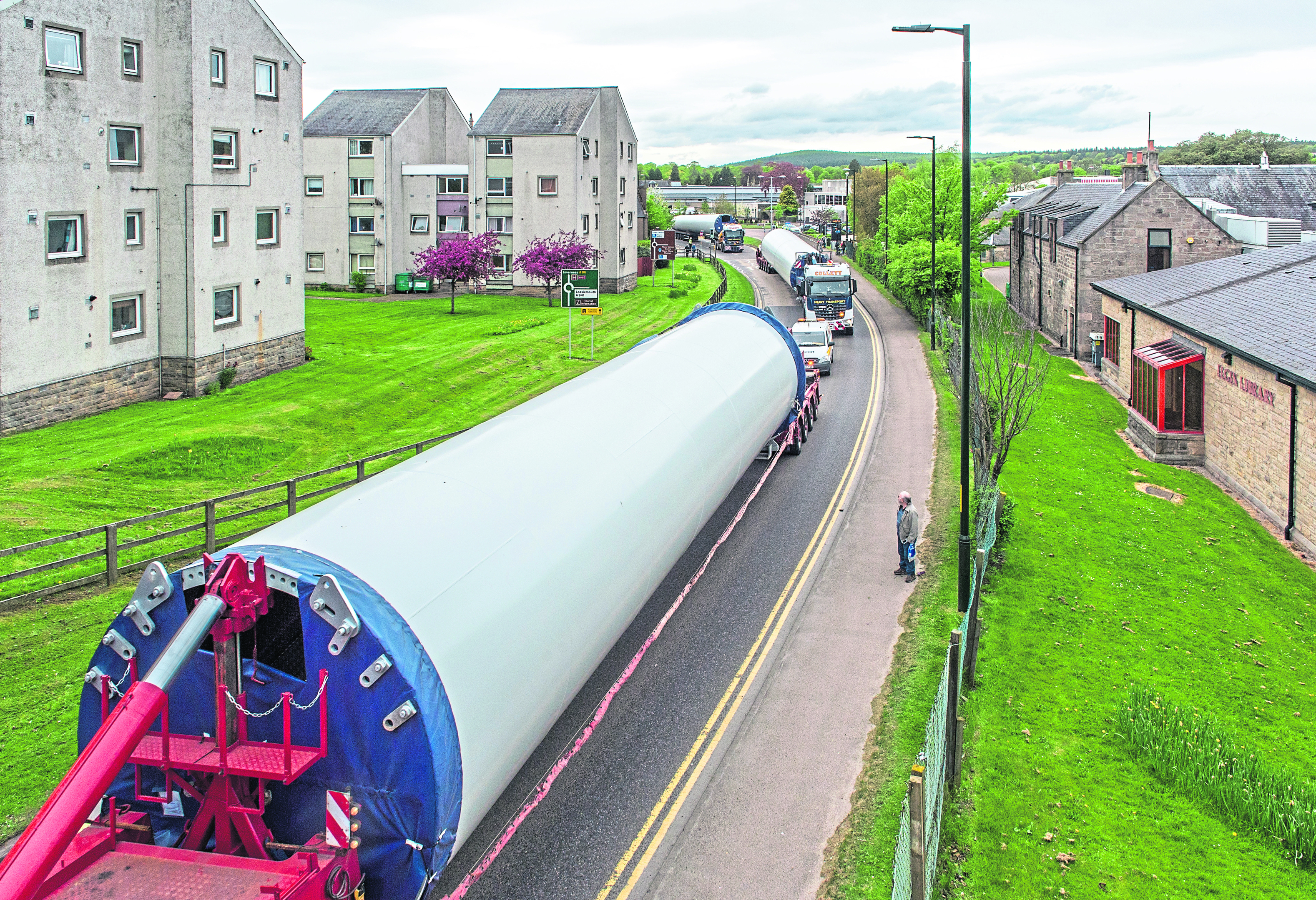 Picture by JASON HEDGES      Picture shows first turbines transported through Moray/Elgin as part of the 22-week project to take parts to Dorenell site near Dufftown.