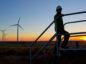 An operator on BP's Cedar Creek 2 wind farm in Colorado, US.