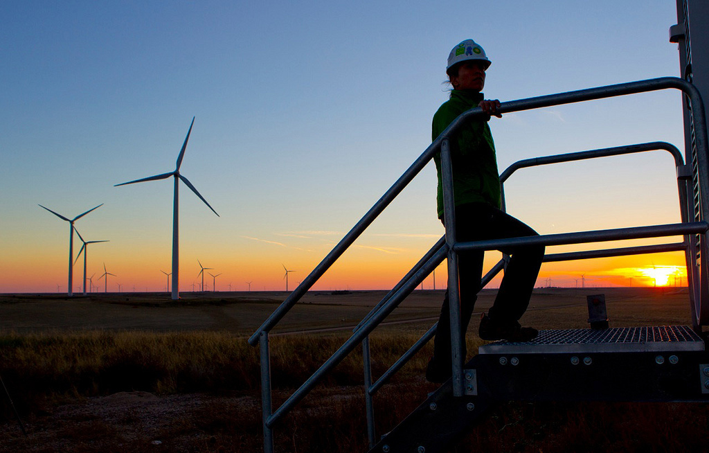 An operator on BP's Cedar Creek 2 wind farm in Colorado, US.