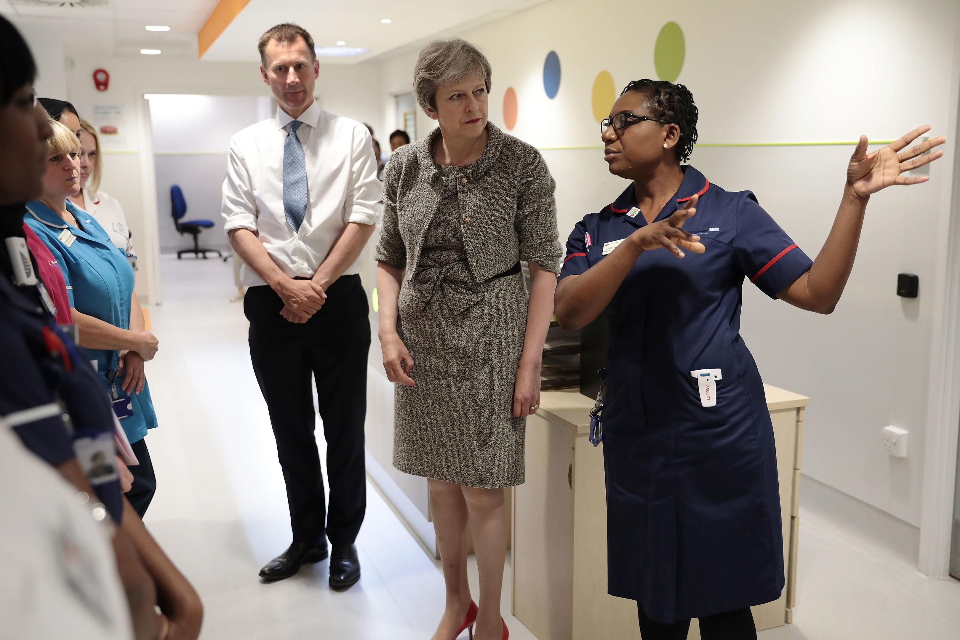 Prime Minister Theresa May and Secretary of State for Health and Social Care Jeremy Hunt meet nurses during a tour of the Royal Free Hospital, north London following the announcement of  increased NHS funding. PRESS ASSOCIATION Photo. Picture date: Monday June 18, 2018. Later in a speech she outlined how spending on the health service will grow by £384 million a week in real terms by 2024. See PA story POLITICS NHS. Photo credit should read: Dan Kitwood/PA Wire