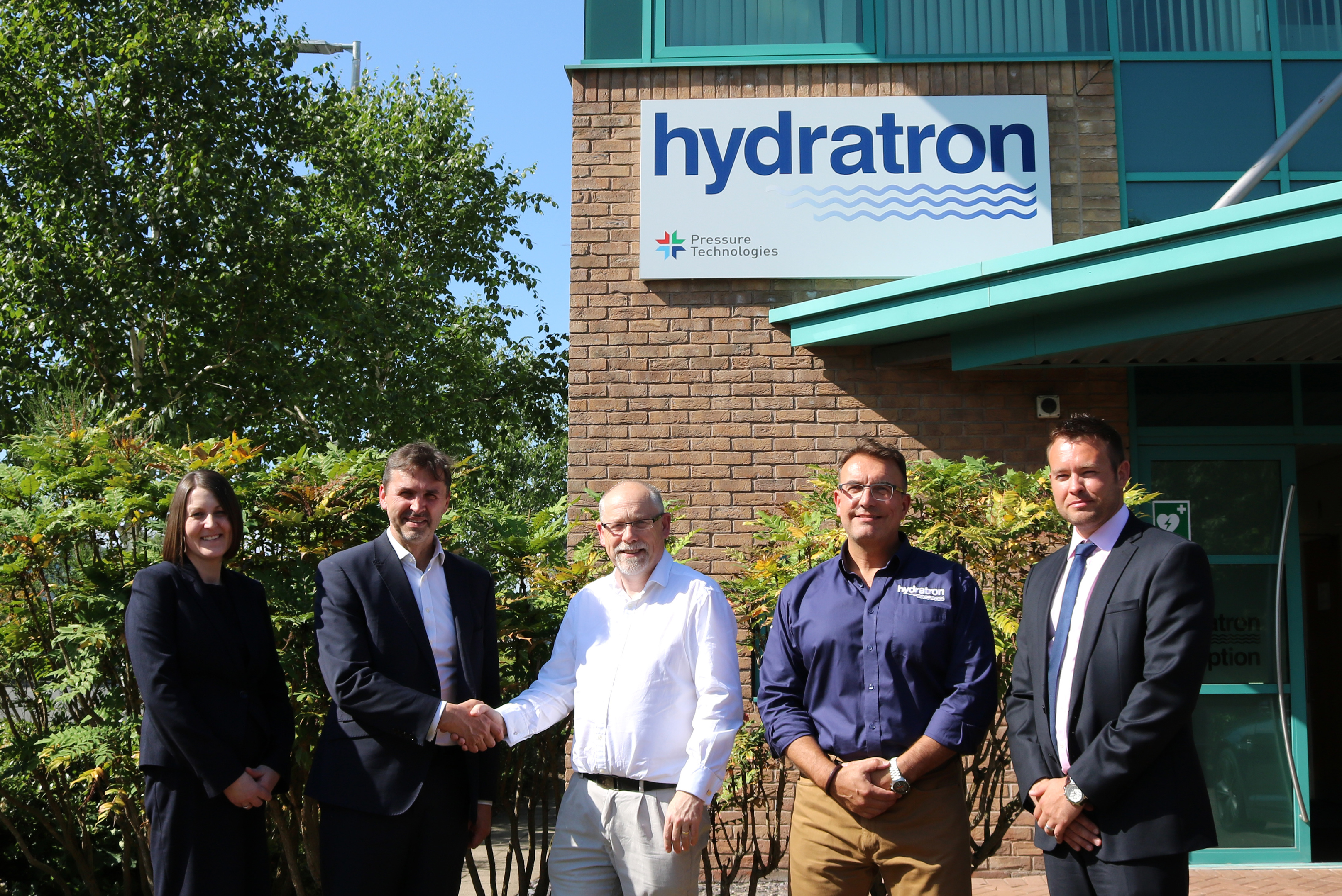 Picture (L-R): Kerrie Murray, Pryme Group CFO; Angus Gray, Pryme Group CEO; John Hayward, Pressure Technologies CEO; Findlay Beveridge, Hydratron commercial director; and, Murray Kerr, Pryme Group COO.