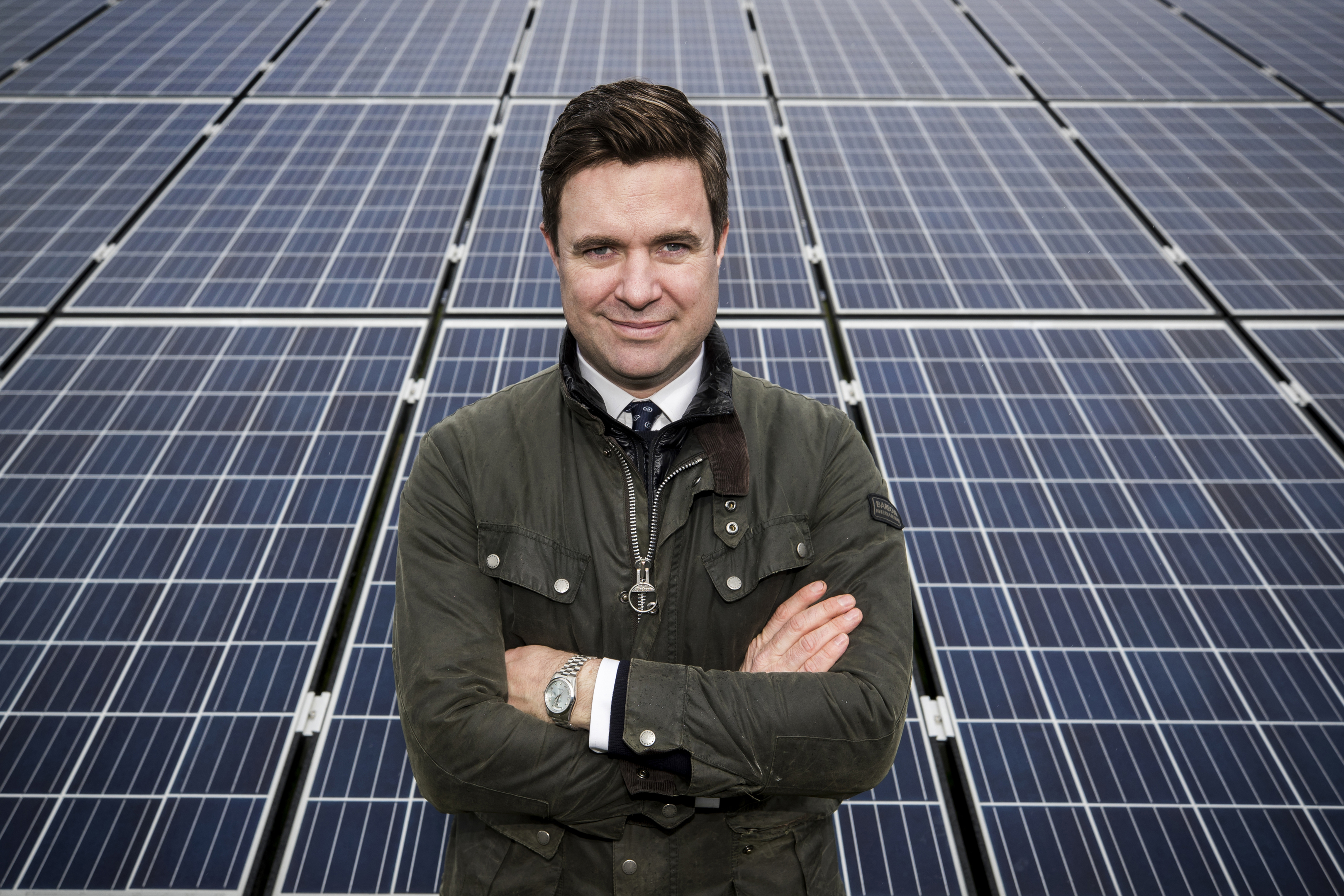 Ronan Kilduff, managing director of Elgin Energy at the Bann Road project in Antrim, their largest solar farm to date in Northern Ireland. Tuesday 10th April 2018. Liam McBurney/RAZORPIX ©