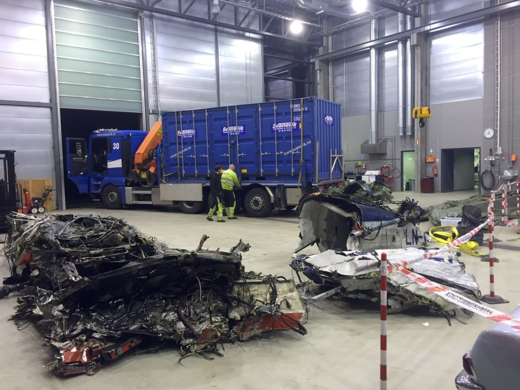 Wreckage from the Super Puma crash in Norway, 2016.