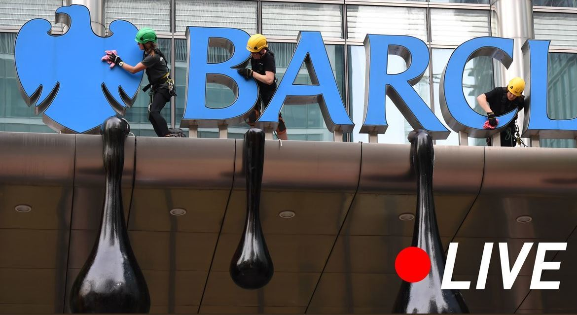 Barclay's Bank was targeted by Greenpeace activists in 2018 over its link to fossil fuel investment.