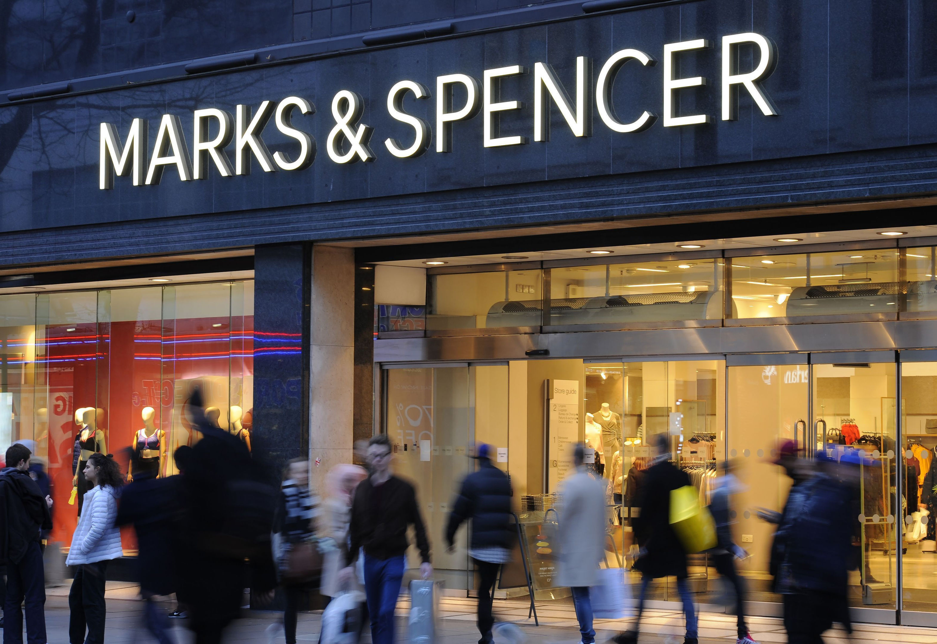 File photo dated 11/01/17 of a Marks and Spencer store as the retailer has reported a 62.1% fall in pre-tax profit to £66.8 million in the year to March 31. PRESS ASSOCIATION Photo. Issue date: Wednesday May 23, 2018. See PA story CITY Marks. Photo credit should read: Charlotte Ball/PA Wire