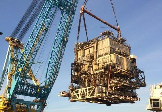Decommissioning work at the Miller platform in the North Sea.