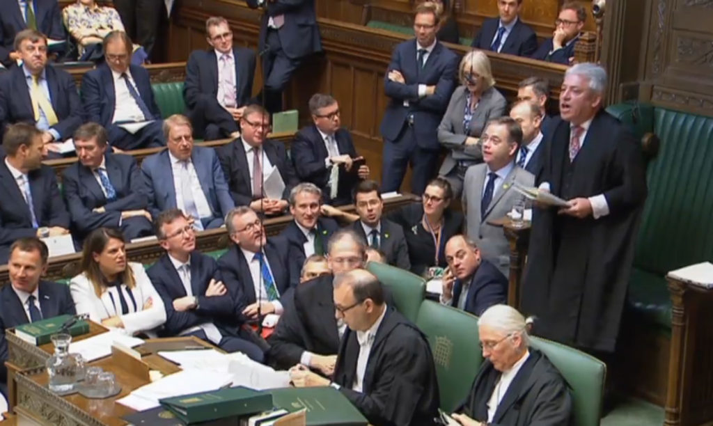 Speaker John Bercow speaks during Prime Minister's Questions in the House of Commons Photo credit : PA Wire