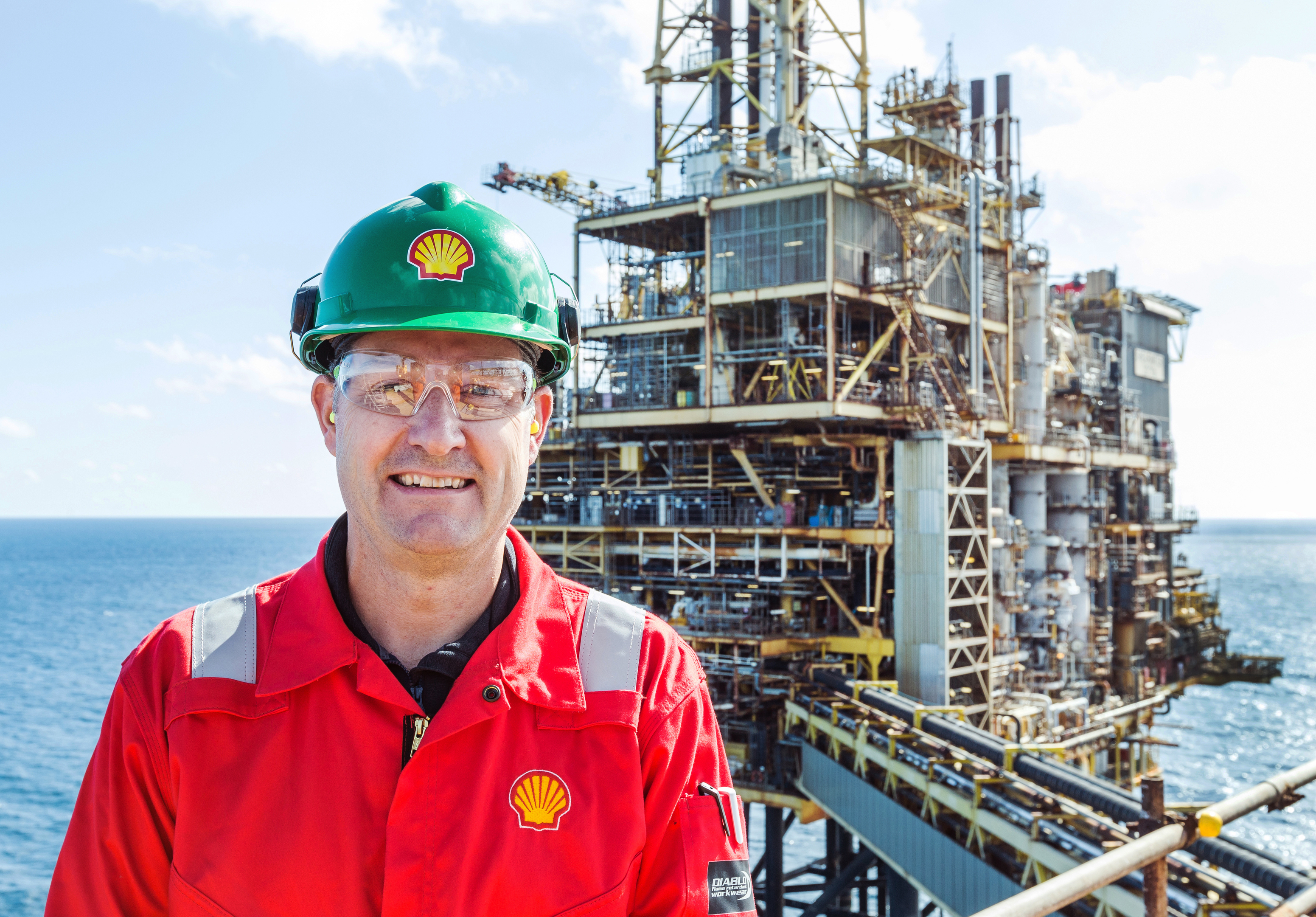 Shell UK upstream vice president Steve Phimister aboard the Shearwater platform.