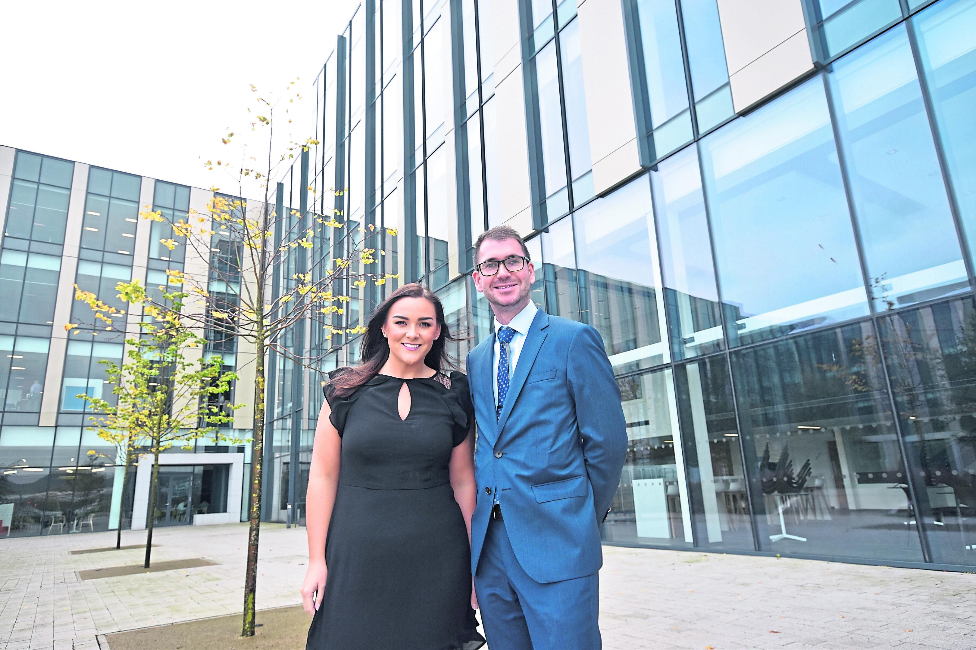Amy Tyler, from CBRE's Aberdeen office, with Knight Frank's Matthew Park at B3  B3 at Aberdeen International Business Park