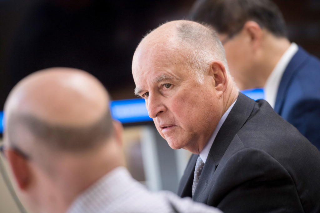 Jerry Brown, governor of California, listens to a question during an interview in Sacramento, California, U.S., on Wednesday, May 23, 2018. Photographer: David Paul Morris/Bloomberg