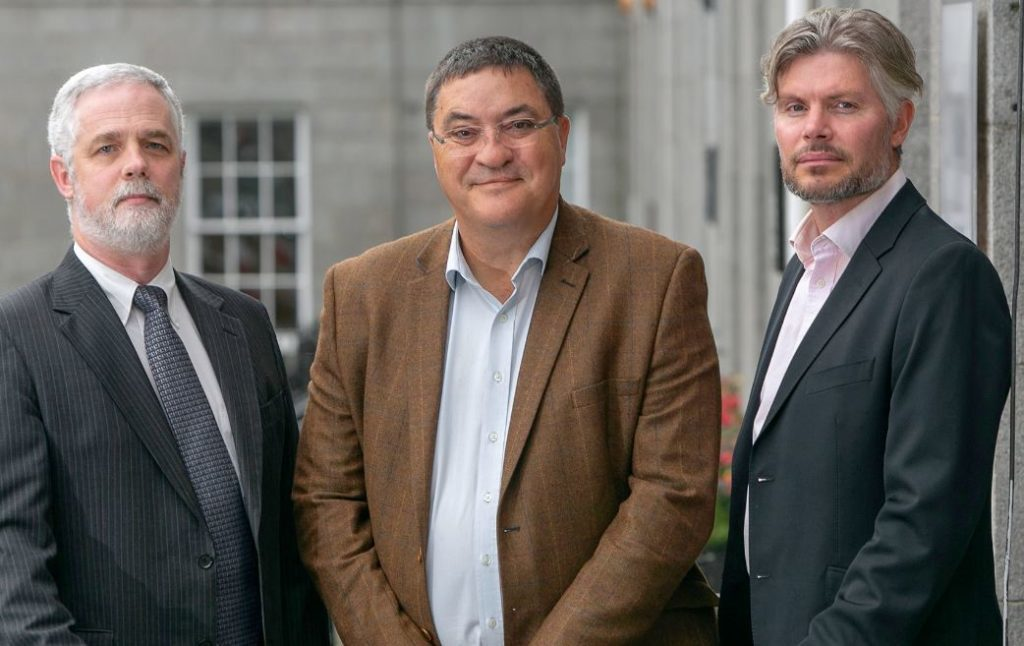 SENTINEL SUBSEA: L to R . Andrew Jaffrey, Chief Technology Officer; Neil Gordon, Chief Executive; Elliot Kinch, Business Development Director.