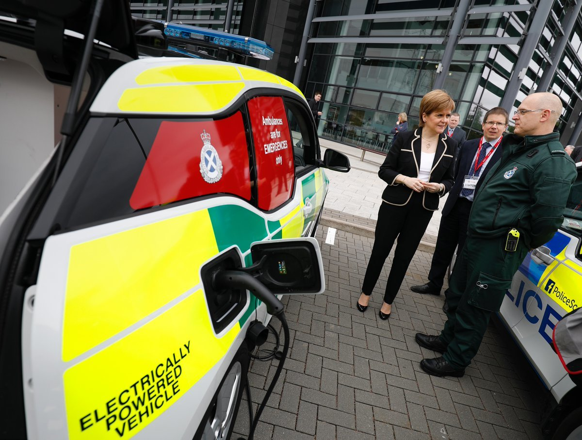 Nicola Sturgeon has unveiled funding for electric vehicle charging