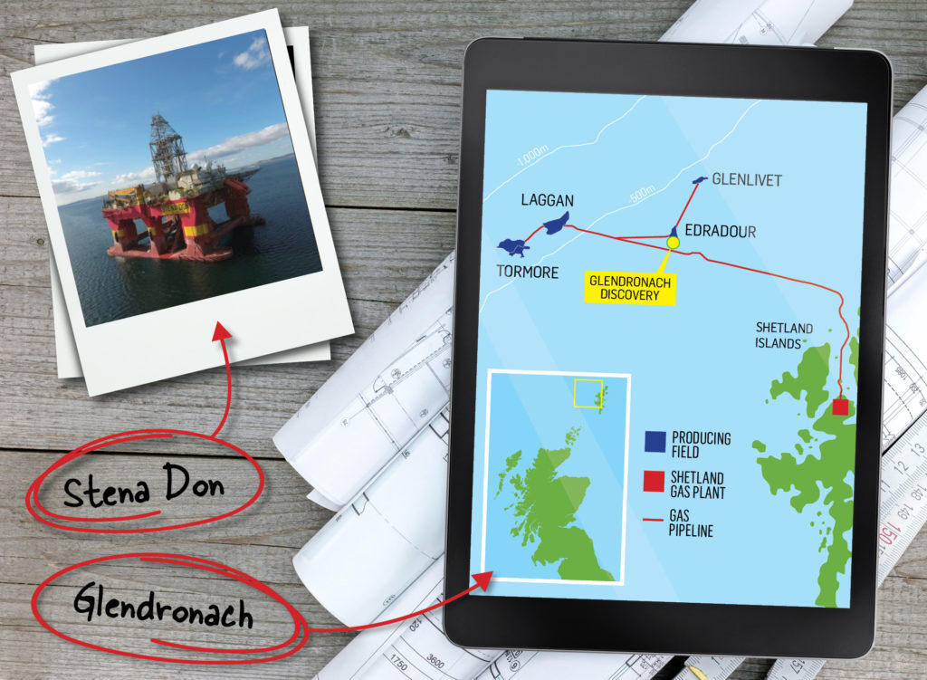A map showing the location of the Glendronach discovery, which was drilled by the Stena Don rig.