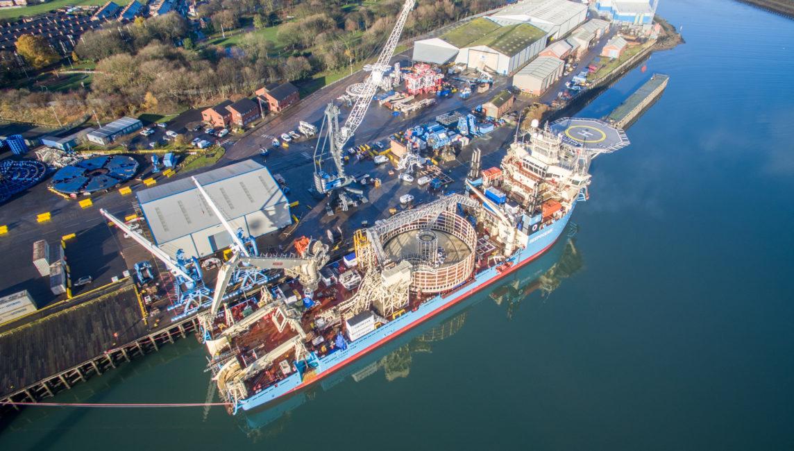A Maersk vessel at DeepOcean's base in Blyth.