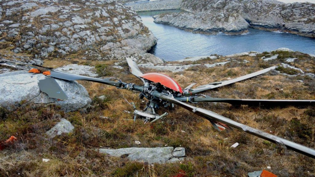 The rotor from the Super Puma which crashed near Bergen in 2016.
