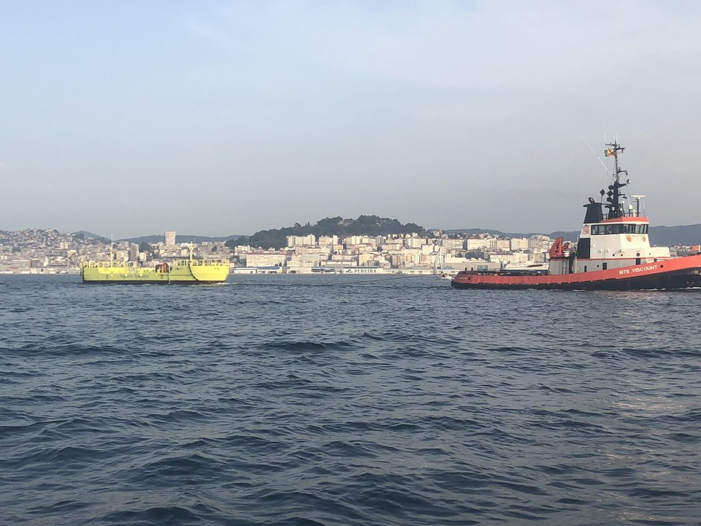 Magallanes Renovables' floating tidal turbine being towed from Vigo, Spain.