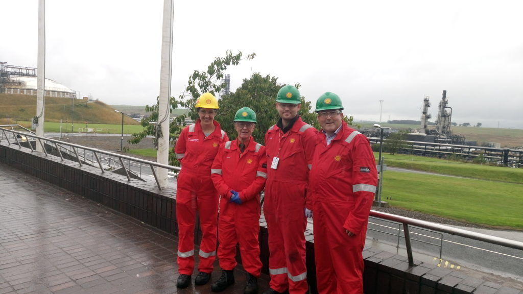 From left to right, Shell plant manager Teresa Waddington, Alex Kemp, Mark Lammey, and David Rodger, Shell.