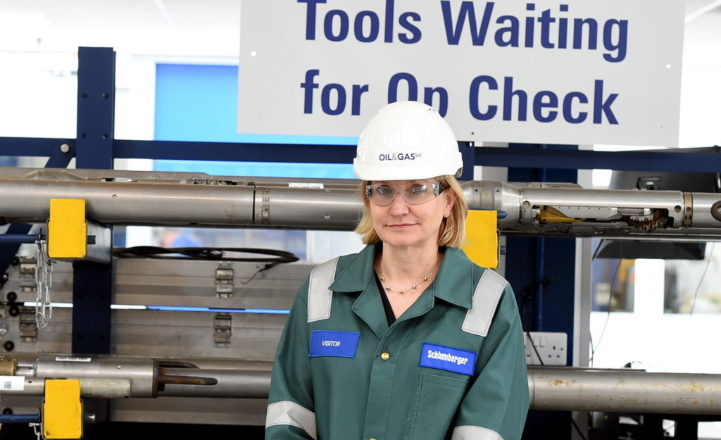 Deidre Michie, CEO of Oil and Gas UK visit Schlumberger in Dyce.