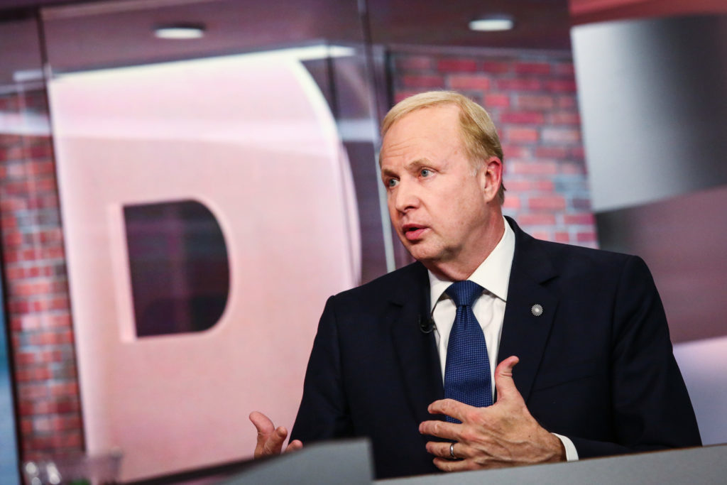 Bob Dudley, chief executive officer of BP Plc, speaks during a Bloomberg Television interview in New York, U.S., on Tuesday, Sept. 25, 2018.  Photographer: Christopher Goodney/Bloomberg